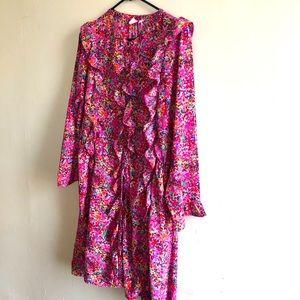 Pink Gap Ruffled Spring Dress Long Sleeve Pockets